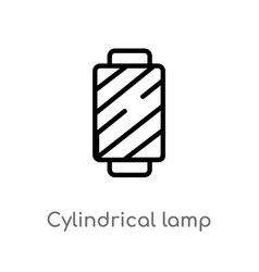 Outline cylindrical lamp icon isolated black vector