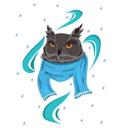 owl in a scarf portrait of a cartoon owl in vector image