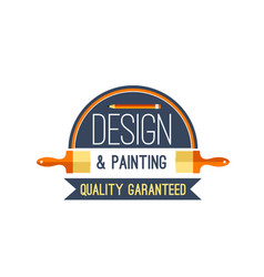 Painting brush and paint design icon vector