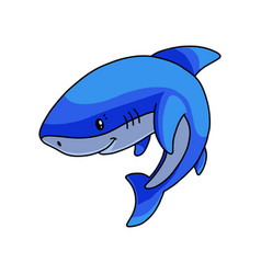 peaceful cute blue white shark waiting fish food vector image