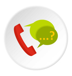 Phone with question mark speech bubble icon circle vector