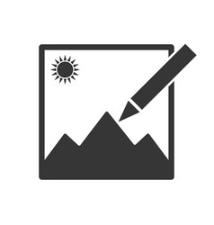 Photo edit icon image in line style attach vector