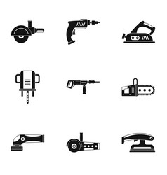 Power electric tool icon set simple style vector