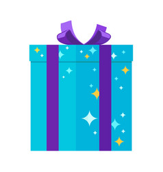 present giftbox for festivals in blue colors with vector image