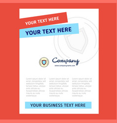 Protected sheild title page design for company vector