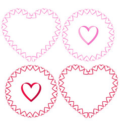 ribbon heart frames clipart set vector image