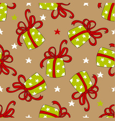 Seamless pattern of colorful gift boxes vector