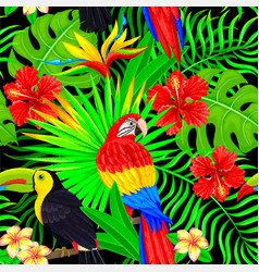 seamless pattern of tropical bird leaves vector image