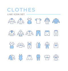 set color line icons clothes vector image