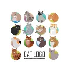 Set of Cat s Faces Flat Design vector