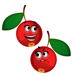 set of funny laughing ripe red berries isolated on vector image
