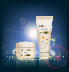 set of packages of cream skin care ads template vector image
