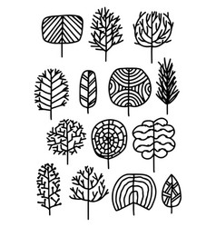 set of trees in a sketch style vector image
