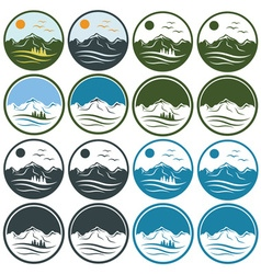 set of vintage labels with mountains pinessun and vector image