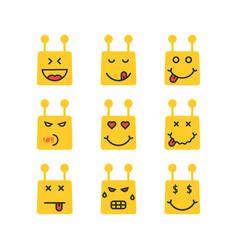 Set of yellow chatbot emoji icon vector