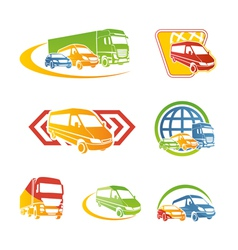 set transport icons vector image
