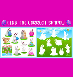 Shadow match kid game with easter rabbits and eggs vector