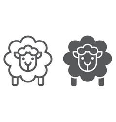 sheep line and glyph icon wool and animal lamb vector image