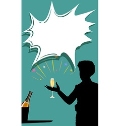 Silhouette man with champagne glass in hand vector image
