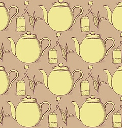 Sketch tea seamless pattern vector image