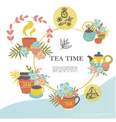 Sketch tea time round concept vector