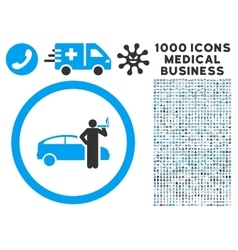 Smoking Taxi Driver Icon with 1000 Medical vector