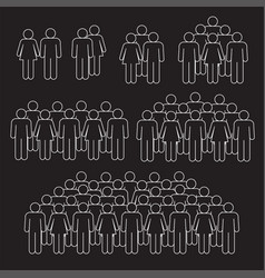 staff crowd thin line on black background vector image