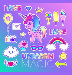 Stickers set with unicorn love text crown vector