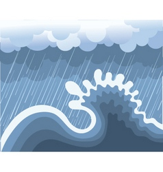 Storm in ocean with big wave vector