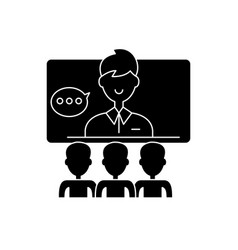 Teleconference black icon sign on isolated vector