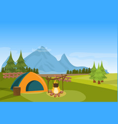 tent camping fire forest mountain expedition vector image