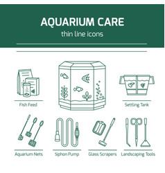 thin line icons - aquarium care tools vector image