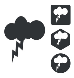 Thunderbolt icon set monochrome vector image
