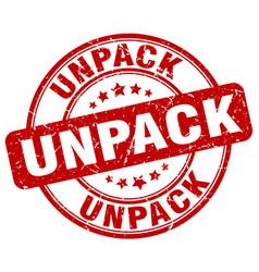 Unpack red grunge stamp vector