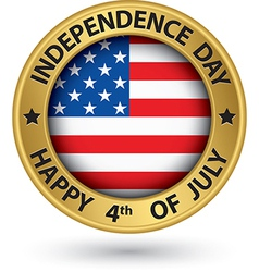 usa indpendence day 4th july gold label vector image