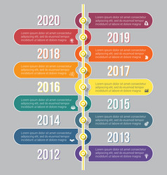 Vertical timeline infographics colorful template vector