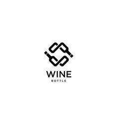 wine bottle logo design concept vector image