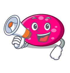 with megaphone ellipse character cartoon style vector image