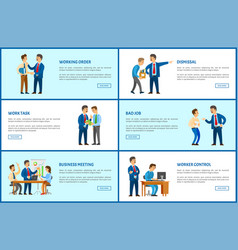 working order dismissal job meeting with report vector image