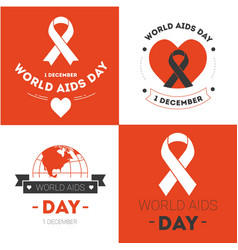 world aids day emblems heart and ribbon immune vector image