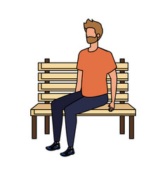 Young and casual man with beard seated in park vector
