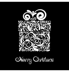 Gift box with scroll ornament vector image