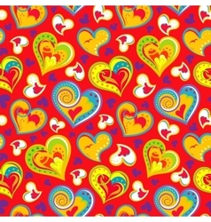 Hand drawn doodle seamless pattern of hearts vector image