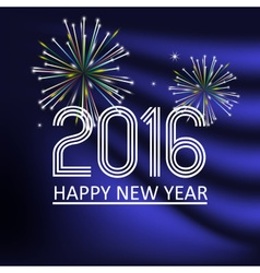happy new year 2016 on dark blue wave color vector image vector image