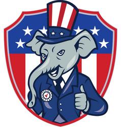Republican Elephant Mascot Thumbs Up USA Flag vector image vector image