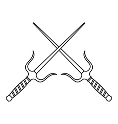 Sai dagger weapon icon outline style vector