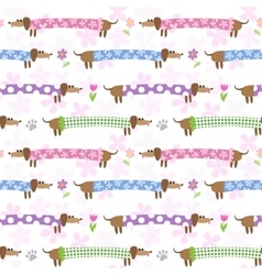 Seamless pattern with dachshunds vector