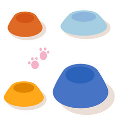 Set of multi-colored bowls for pets isolated on vector