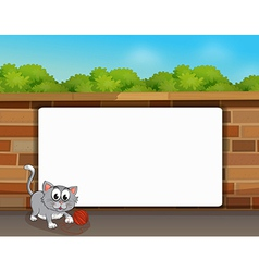 Cat and a white board vector image vector image