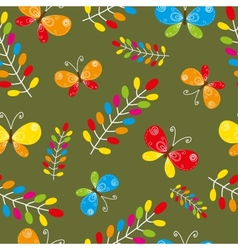 Floral seamless pattern with bird and butterflies vector image